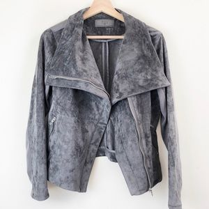 Blank NYC   Faux Suede Large Collar Moto Jacket